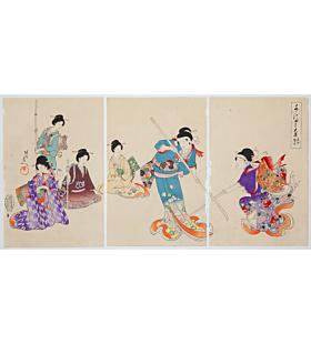 chikanobu yoshu, sword practice, beauty, inner palace of chiyoda