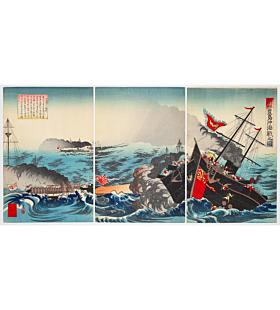 kyosui kawanabe, war print, senso-e, meiji era, korea, battle ship