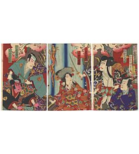 utagawa kunisada III, kochoro, kabuki play, kinkakuji, golden pavilion, temple, dragon, japanese design