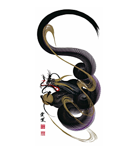 tetsuya abe, dragon painting, ink painting, contemporary art