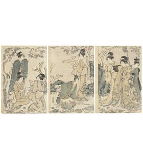 Choki Eishosai, Parody of Urashima Taro, Beauty Triptych
