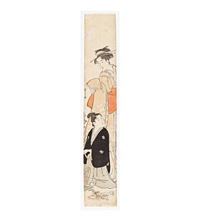 hashira-e, pillar print, flower arrangement, japanese custom, culture, edo period