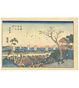 Eisen Keisai, Atagoyama, Eastern Capital, Landscape, Daily Life, Town, Travel, Boat, Original Japanese woodblock print