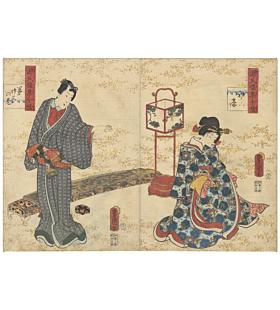 toyokuni iii utagawa, the tale of genji, edo period, japanese story, kimono design, japanese koto, japanese design