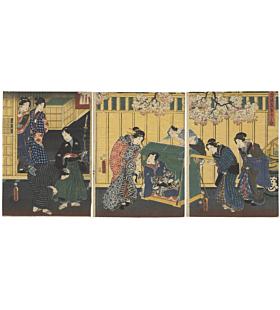 toyokuni III utagawa, the tale of genji, genji-e, tattoo design, lady rokujo, classical story, japanese design