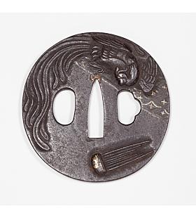 iron tsuba, phoenix, sword guard, hand guard, japanese sword, japanese katana, artisan, swordsmith