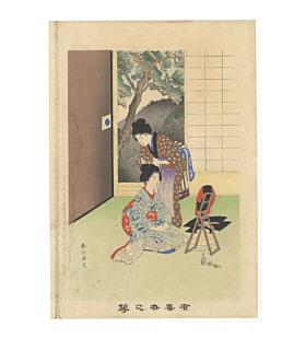 shuntei miyagawa, hairdressing, meiji era, beauties, japanese design, mirror, traditional house