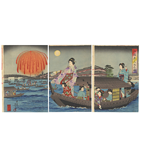 nobukazu yosai, hanabi, fireworks, kimono design, japanese woodblock print