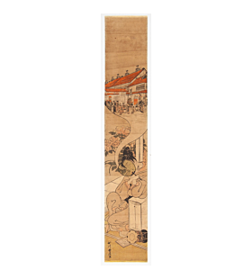 toyonobu ishikawa, young man, pleasure quarters, hashira-e