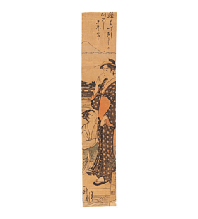 torii kiyonaga, two Women by a River, hashira-e, pillar print