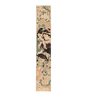 hashira-e, pillar print, beauty, emperor, couple, flowers, eisen keisai, music, flute