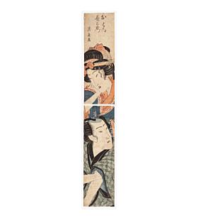 hashira-e, pillar print, couple, eisen keisai, edo period