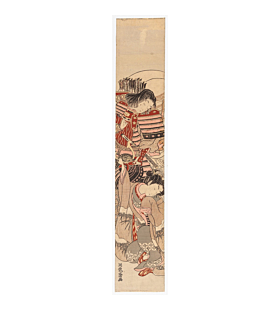 hashira-e, pillar print, samurai, warrior, japanese armour, koryusai