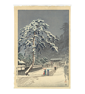 Hasui Kawase, Honmonji Temple in Snow