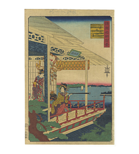 hiroshige II utagawa, Nagasaki, The View of Maruyama (長崎 丸山の景), telescope, One Hundred Famous Views in the Various Provinces(諸国名所百景)