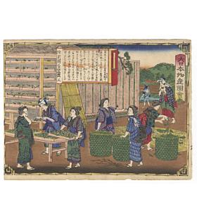 Hiroshige III Utagawa, Rikuzen Province, Making Silk, Famous Products of Japan
