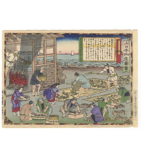 hiroshige III utagawa, Tsuhima Province, Drying Sea Cucumber, Famous Products of Japan (大日本物産図会)