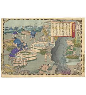 hiroshige III utagawa, Tosa Province, Katsuobushi (Dried Bonito) Making, Famous Products of Japan (大日本物産図会)