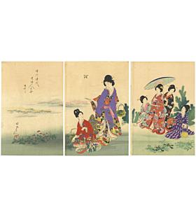 Chikanobu Yoshu, Horsetail Picking, Ladies of Tokugawa, Beauty
