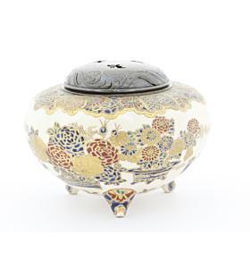 japanese satsuma, traditional, japanese antique, incense burner, flower design, handmade, meiji period