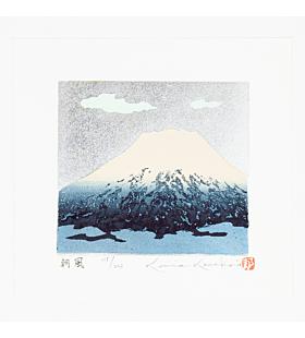 kunio kaneko, 朝風 (Asa Kaze - Morning Breeze), blue mount fuji, silver pigment, contemporary art