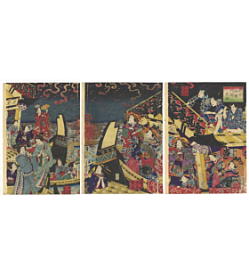 yoshiiku utagawa, summer at ryogoku, fireworks, hanabi, party
