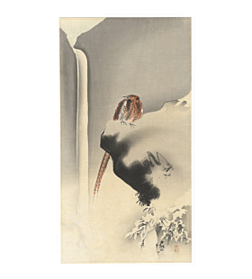 koson ohara, pheasant on rock with waterfall