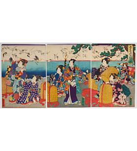 kunisada III utagawa, tale of genji, crane