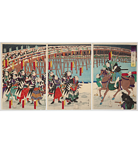 Chikahide Ryusai, Actors as the Forty-seven Retainers(義士両国引取の図), chushingura, ronin