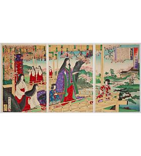 nobukazu yosai, Ono no Komachi Writing a Poem(小野小町詠歌之図), heian era