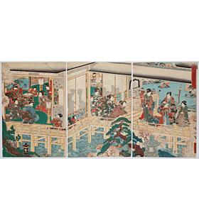 kuniteru II utagawa, Genji-e, That Familiar Figure with the Moon and Flowers, tale of genji