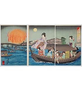nobukazu yosai, ryogoku bridge, summer fireworks