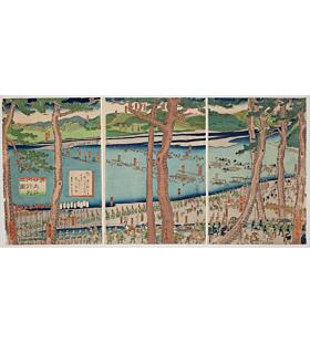 Sadahide Utagawa, Procession of Minamoto no Yoritomo Across the Oi River, Warrior