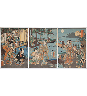 kunichika toyohara, The Moon, Night Viewing of Cormorant Fishing, Genji in the Present Style(今様源氏の内)
