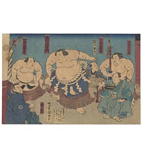 kuniaki II utagawa, Sumo Wrestlers of Meiji Period(相撲絵 境川浪右衛門 他)