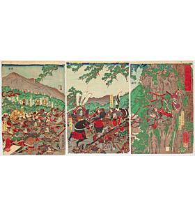 yoshikazu utagawa, The Battle of Shizugatake(江比大合戦), sengoku period, warrior, samurai