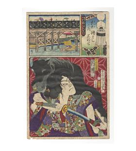 Kunichika Toyohara and Hitoshige III Utagawa, Nihonbashi, Kabuki Actor, Flowers of Tokyo