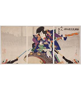 kunichika toyohara, Actor Onoe Kikugoro as Tenjiku Tokubei, kabuki play