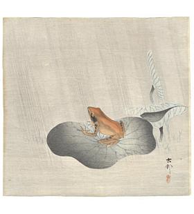 Koson Ohara, Frog on Lotus Leaf