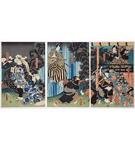 Toyokuni III Utagawa, Jiraiya Goketsu Monogatari, Act of the Waterfall