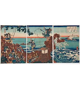 kuniyoshi utagawa, Minamoto no Tametomo Shooting Enemy at Izu Isles, warrior, samurai
