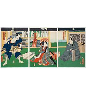 toyokuni III utagawa, Kabuki play, Aotozoshi Hana no Nishikie, actors, benten kozo