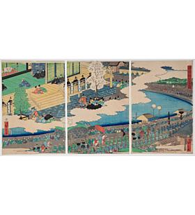 hiroshige II utagawa, Lord Minamoto no Yoritomo and his retainers Marching towards Kyoto, warrior, samurai