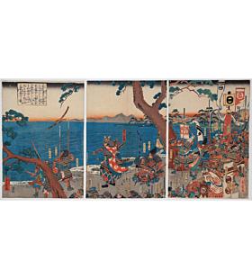 shigenobu utagawa, Nitta Yoshisada Throwing his Sword into the Sea at Inamuragasaki, warrior, samurai art