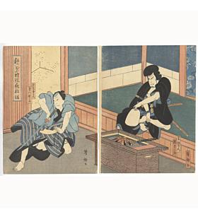 yoshitaki utagawa, kabuki play, katana, japanese woodblock print, japanese antique, japanese art, edo period