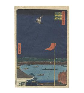 Hiroshige I Utagawa, Komagata Hall and Azuma Bridge, One Hundred Famous Views of Edo