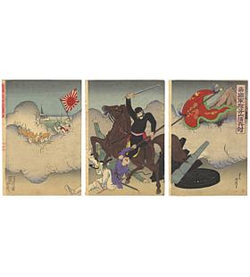 kuniteru III utagawa, war print, meiji era, japanese history, battle, imperial army