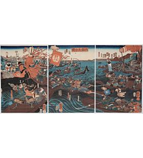 kuniyoshi utagawa, The Great Battle of Yashima, warrior, genpei war, samurai