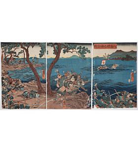 yoshitora utagawa, The Battle of Dan'noura, Yashima, warrior, samurai
