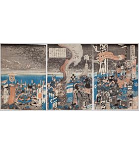 kuniyoshi utagawa, The Battle of Fuji River, Suruga Province, genpei war, samurai